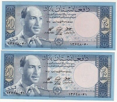 1340 Afghanistan 20 Afg King Daud Consective Numbers Paper Money Unc.