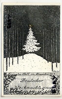 Xmas Card From Donington Hall German Prisoner Of War Camp 1917 Leicestershire