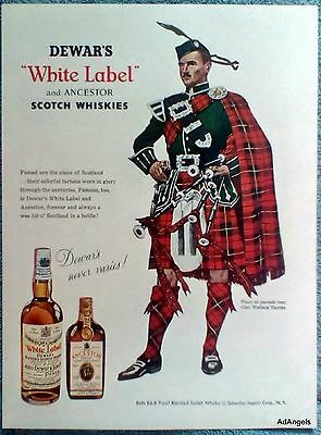 1956 Dewar's White Label Whisky Bag Piper Clan Wallace Tartan Parade Rest ad