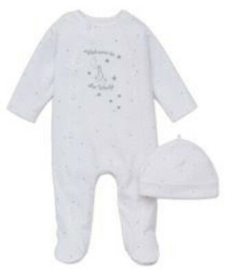 "LITTLE ME 100% Cotton L/S White ""WELCOME TO THE WORLD""  Footie w/ Hat UNISEX NWT"