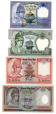 NEPAL 1 / 2 / 5 and 10 Rupees  - A Set of 4 Crisp UNC Banknotes