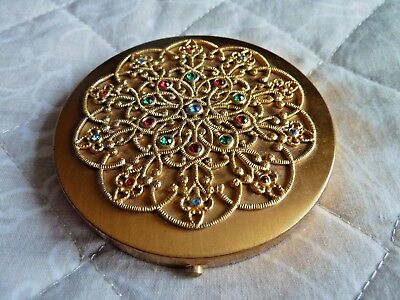 Beautiful Vintage Rimmel Compact Filigree Work And Sparkly Coloured Stones