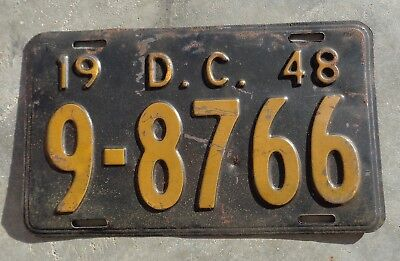 District of Columbia 1948  license plate #  9 - 8766