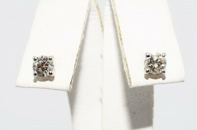 $1,500 .56Ct Natural Round Cut White Diamond Stud Earrings 14K White Gold