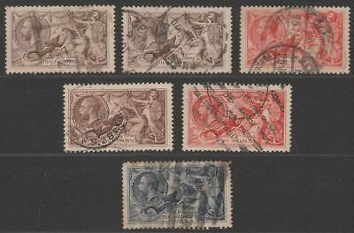 King George V 1918-34 Seahorses 2sh6d, 5sh, 10sh Selection Used