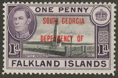 Falkland Islands Dependencies 1944 KGVI South Georgia 1d Variety Short F in OF