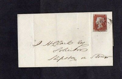 1846.COVER.1d RED-BROWN IMPERF.3 MARGINS.BLUE PAPER.223 'COVENTRY' BARRED OVAL.