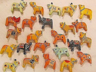 24 Beads Vtg Animal 3-D India Wood Hand Painted Jewelry Findings Lot Crafts Nos