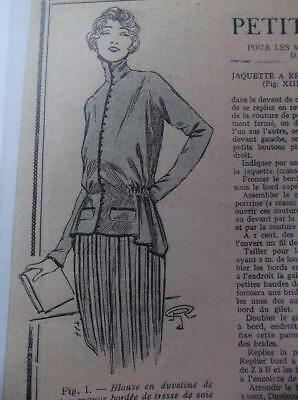 1920s vintage basque blouse stand collar French antique sewing pattern b 37