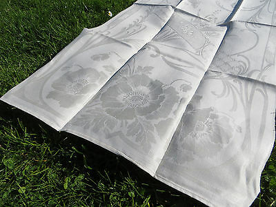 Art Nouveau  Towel  Geometric  Petunias Poppies Lilies Of The Valley Original