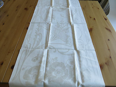Unused  Art Nouveau   Towel  Geometric  Petunias Poppies Lilies Of The Valley