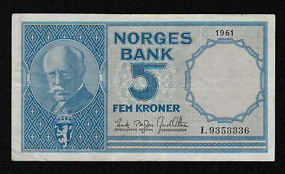 NORWAY (P30g) 5 Kroner 1961 aVF/VF