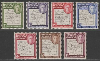 Falkland Islands Dependencies 1948 KGVI Thin Map Pt Set to 1sh Mint Dot in T Var