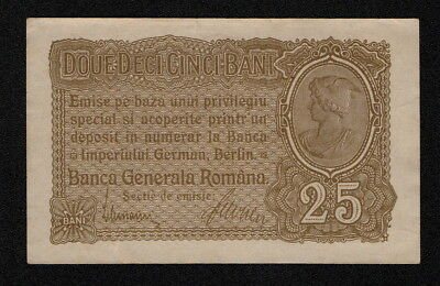 ROMANIA (PM01) 25 Bani ND(1917) XF+ 8-digit serial #