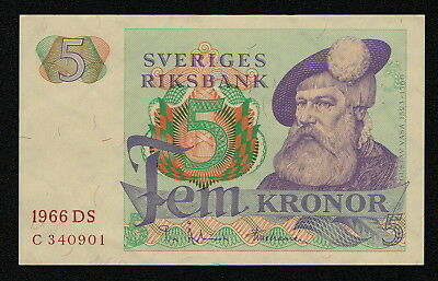 SWEDEN (P51a) 5 Kronor 1966 XF/XF+