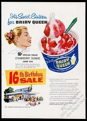 1956 Dairy Queen ice cream shop restaurant art vintage print ad