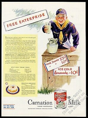 1945 Cub Scout selling lemonade & war stamps Carnation Evaporated Milk print ad