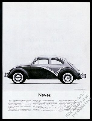 1961 VW Volkswagen Beetle classic car photo Never 13x10 vintage print ad