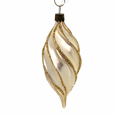 Holiday Ornaments GOLD DROP SWIRL Glass Germany Glittered 775896