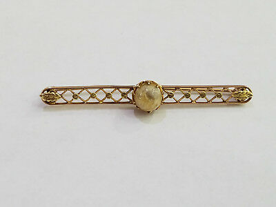 Antique Marathon Signed 1930s Pearl 10k Yellow Gold Brooch Pin