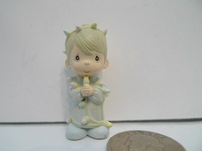 "Vtg 1990 Precious Moments 1 3/4"" Mini Figurine Boy with Christmas Lights Tangled"