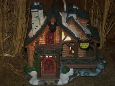 Christmas Village Lighted House Log Cabin Mountain Chalet Country Town Building