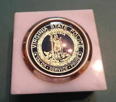 Virginia State Police - Paper Weight, Italian Marble Cork Bottom