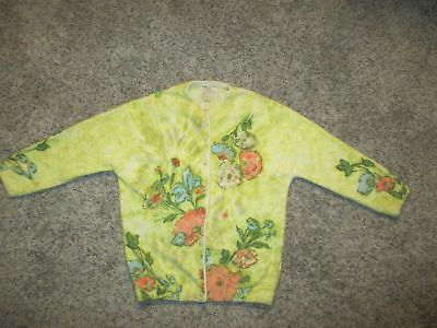Women Vintage Angelon By Darlene Cardigan Sweater Floral Angora Woo Blend Yellow