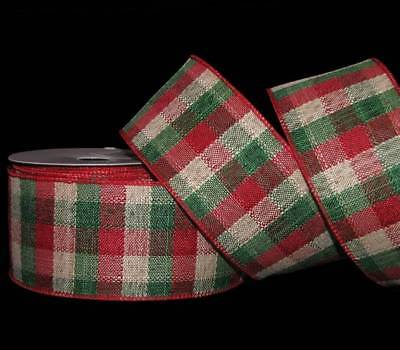 10 Yards Red Green Brown Country Christmas Rustic Primitive Plaid Wired Ribbon 4