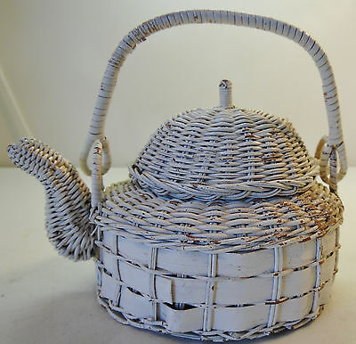 Small Wicker White Teapot Kettle Coffee Distressed Aged Look