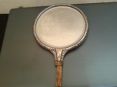 Antique  Bevelled  Silver  Hand  Mirror