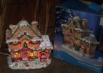 Christmas Village Lighted House Gingerbread Candy House Home Sweet Home Elf Shop