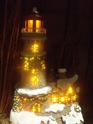 Christmas Village Fiber Optic Lighted House Lighthouse Town Snow Trees Colors