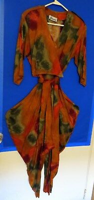 VINTAGE 1980s J HARRIS JUMPSUIT FALL COLOR SPLASH SIZE 6 MADE IN USA GRN RUST OJ