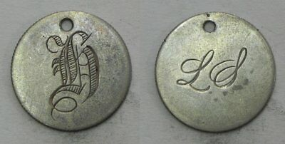 LT34 Engraved Design LS and H on Both Sides Dime LOVE TOKEN Coin Necklace Ready