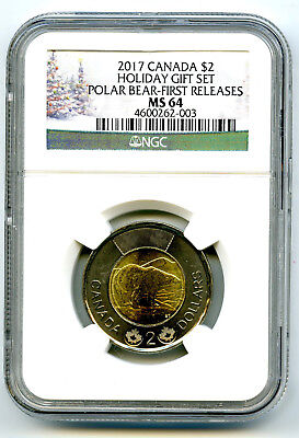 2017 Canada $2 Holiday Polar Bear Ngc Ms64 First Releases Toonie ! Cert #003