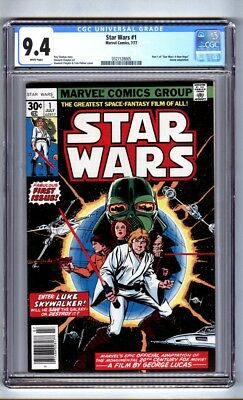"""Star Wars #1 (CGC 9.4) White pages; Part 1 of """"A New Hope"""" adaptation (c#16148)"""