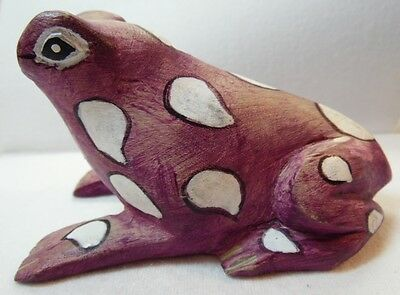 Carved Wood Frog Figure Hand Painted Purple with White Spots Distressed Look