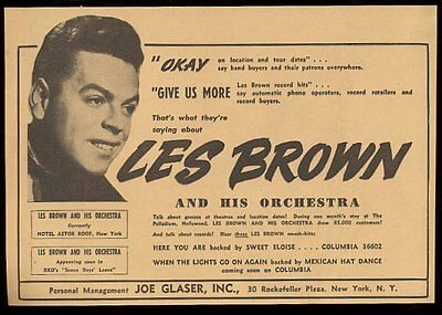 1942 Les Brown photo music gig booking vintage print ad