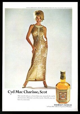 1969 Cyd Charisse photo Thorne's Scotch Whisky print ad