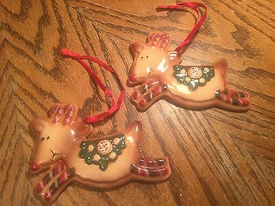 2 Ceramic Cookie Shaped Reindeer Ornaments. (Lot 1)