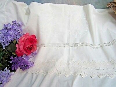 ANTIQUE bed SHEET Linen bed cover CROCHET LACE Drawn-work FANCY return SHAM 114""