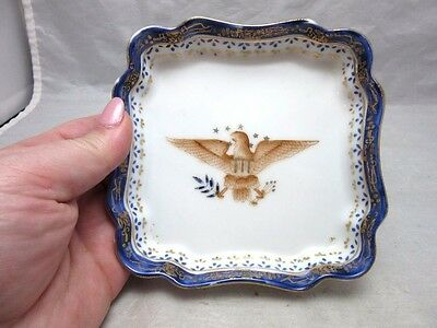 Porcelain trinket dish. Hand painted American Eagle