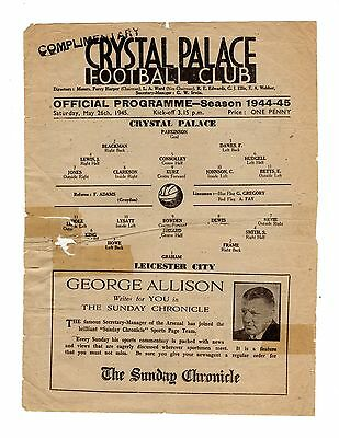 Crystal Palace v Leicester City 26.5.1945 Friendly