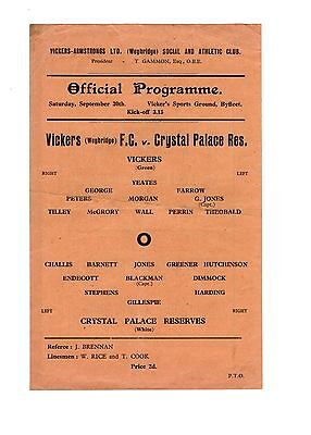 Vickers Weybridge FC v Crystal Palace 30.9.1944 Friendly