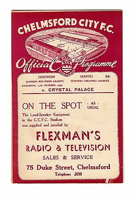 Chelmsford City v Crystal Palace 14.10.1939 Friendly