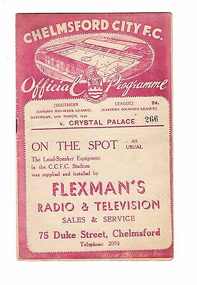 Chelmsford City v Crystal Palace 16.3.1940 Friendly