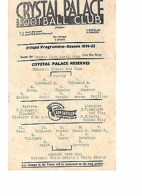 Crystal Palace v Swansea Town Reserves Programme 11.4.1955