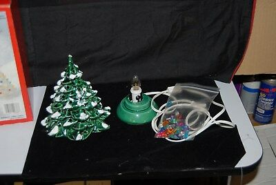 Vtg Green Ceramic Christmas Tree Kit with Lights & Lighted Base Made USA Boxed