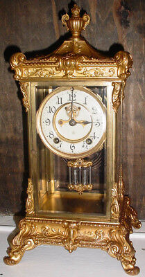 "Antique Elysian  16 1/4"" Ansonia Crystal Regulator Clock W/ Outside Escapment Nr"